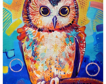 "Owl - Original colorful traditional acrylic painting on paper 8.5""x11"""