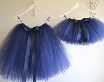 Flower girl dress, Girls tutu, knee length Navy Blue tutu skirt, ballet tutu, tutu skirt, baby tutu, wedding tutu, flower girl dress