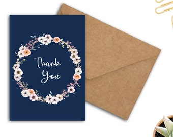 Printable Thank You Greeting Card - Watercolor Flower Wreath - Gratitude Card - 5 x 7 Card - Floral Card - Card For Woman /Her