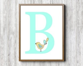 Aqua Wall Decor monogram wall art | etsy