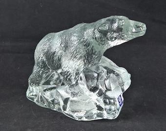 Glass ice bear bergdala polar bear Swedish glass glass ice bear paperweight bear crystal artwork glass artwork animal glass presse papier