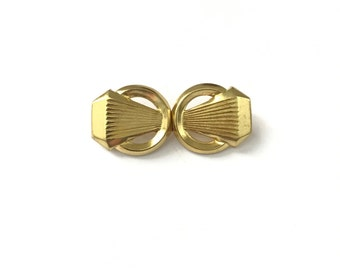 Vintage Gold Tone Geometric Art Deco Hook Clasp