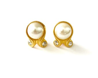 Vintage Gold Plated and Faux Pearl Museum Style Clip Earrings