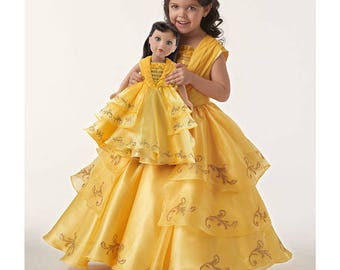 """Belle, Beauty and the Beast, Live Action, Simplicity Pattern 8405, or D0653, Disney's Belle Ball Gown, both Girls Sz: 3-8 + 18"""" doll, UN-CUT"""