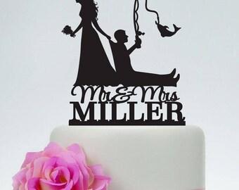 Bride Pulling Groom, Bride Dragging Groom, Funny Cake Topper, Custom Fishing Cake Topper,Mr and Mrs Cake Topper, Outdoor Wedding, C191
