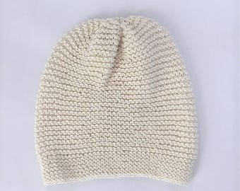 Slouchy Beanie Hand Knit, Lightweight Slouchy Hat, Hand Knit Hat, Spring or Summer Hat - Ivory with Sparkle (Adult)