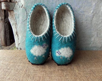 Turquoise felted slippers sheep natural wool suede soles  wool slippers, sheep slippers