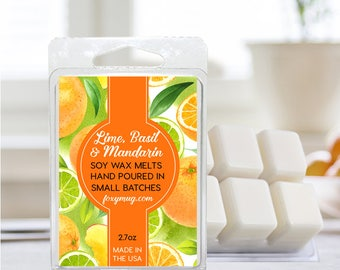 Soy Wax Melts Lime, Basil and Mandarin Hand Poured 2.7 ounce