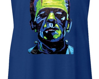 Ladies Frankenstein Face Flowy Racerback Tank Top 20719NBT2-8800