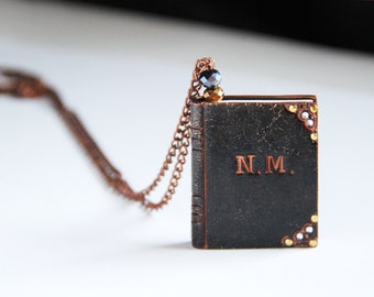 Custom jewelry Book initial necklace Initial jewelry Custom gift Book worm pendant Miniature book charm necklace Book gift ideas Book lover