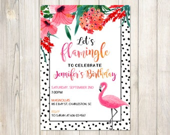 Flamingo Party Invitation Flamingo | Let's Flamingle Printable Birthday Party Invitation