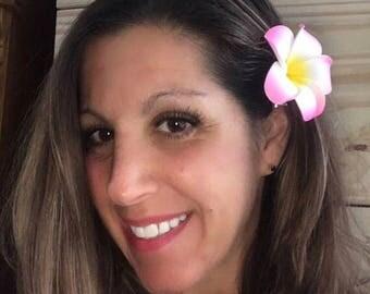 Hawaiian flower hair clips beach bride pink plumeria flower head hair accessory Frangipani clips Luau head wear