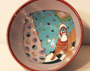 Vintage New Wave Hand Painted Art Pottery Bowl-Kathryn Berd-1986