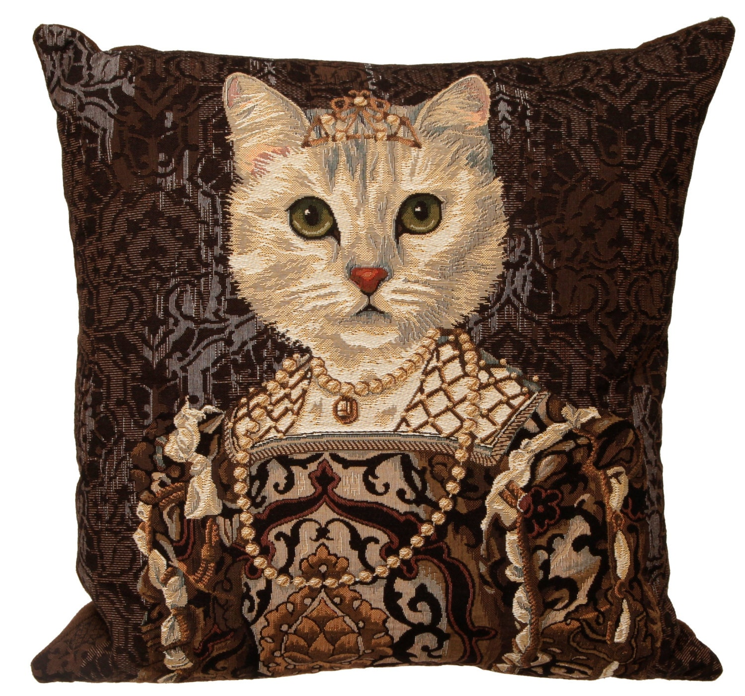 Belgian Tapestry Throw Pillow Cushion Cover Royal Portrait