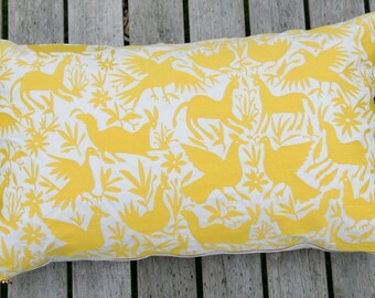 Embroidered  cushion cover in Marigold Yellow , 40x65 cm.
