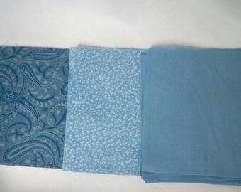 "Quilting Squares, 5"" Cotton Fabric, Teal Blue Paisley, Plain Blue-Grey, Blue White Leaf Pattern, De-Stash, DIY Sewing Project"