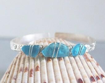 Turquoise sea glass bracelet - sterling silver bracelet - beach glass bracelet - ocean glass bracelet - sea glass jewelry - graduation gift