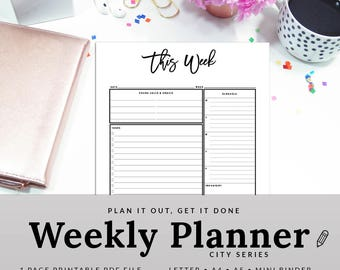 Weekly Organizer - Weekly Planner - Weekly To Do List - Weekly Task List - This Week - Work Organizer - INSTANT DOWNLOAD - PWEK1200-A