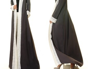 Maxi Cardigan | Grey Cardigan | Long Sleeve Cardigan Abaya | Long Duster Cardigan | Duster Jacket Kimono Robe | Open Abaya Duster Coat 6393