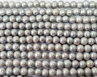 "10-11mm Large Hole Freshwater Pearls, Silver Freshwater Pearls Potato, 15"" strand, Perfect for leather"