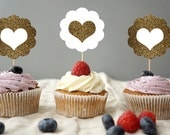 Cupcake Toppers, Wedding Cupcake Toppers, Party, Cupcake Topper, Bridal Shower Cupcake Decorations, Set of 24