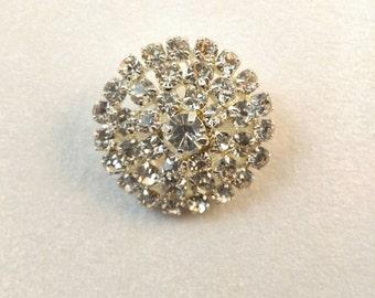 Vintage Rhinestone Round Silver Dome Brooch Pin