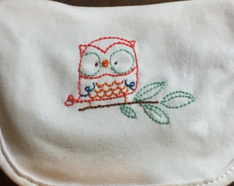 Hand Embroidered Baby Bib - Owl