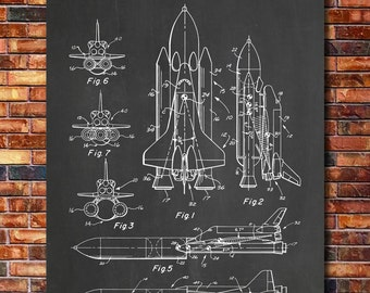 NASA Space Shuttle Patent Print Art 1975