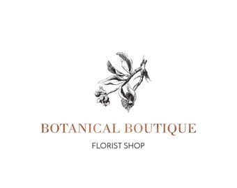 Vintage Floral Logo Design, Victorian Floral Logo, Business Logo Design, Vintage Logo,  Copper Logo, Watermark, Premade Logo, Fashion Logo