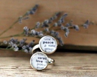 Peace and Love double book page ring. Dictionary page ring. Book Page Jewelry. Statement ring