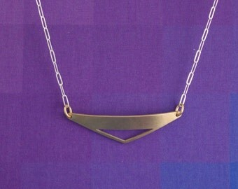 Brass Triangle Necklace, Brass Triangle Cut Out