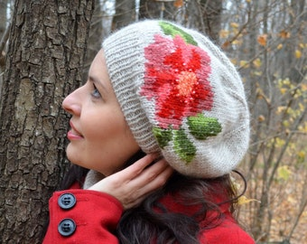 Knitted hat for woman, Light gray knitted hat with embroidery flower, Knitting accesories, Winter beanie hat, Red flower hat, Slouchy hat