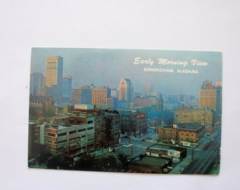 Downtown Birmingham Alabama, Early Morning View, Vintage Alabama Postcard, vintage Birmingham