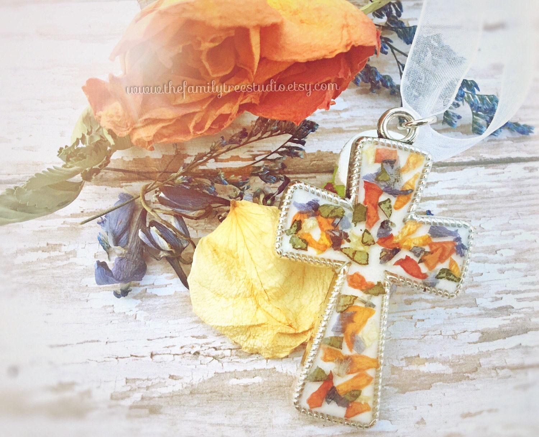 Baby loss ornaments - Memorial Jewelry Memorial Flower Cross Ornament Funeral Flower Jewelry Bereavement Gift