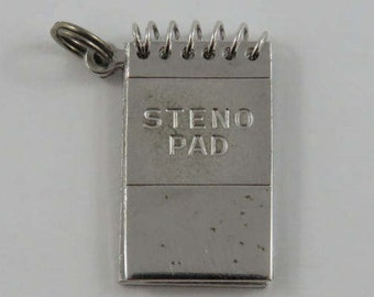 Steno Pad Mechanical Sterling Silver Charm For Bracelet
