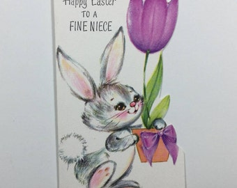 Bunny Rabbit Carrying Huge Purple Tulip Vintage 1940s Unused Rust Craft Easter Greeting Card