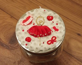 Kawaii Red Ballerina Decoden Glass Jar