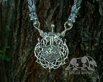 Semargl's Fern Flower Slavic Pendant  Guard Charm Amulet Sterling Silver Necklace Norse  Jewelry