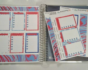 Planner Stickers-July Monthly Notes Page Kit