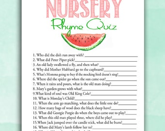 Watermelon Baby Shower Game - Nursery Rhyme - Summer Party - Baby Game Quiz Instant Printable Digital Download Baby Shower activities girl