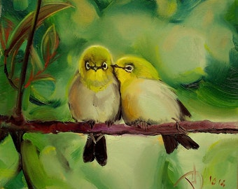 Bird painting Oil painting on canvas Love painting