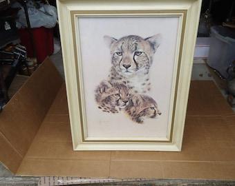 cheetah picture print vintage framed,african wildlife decor