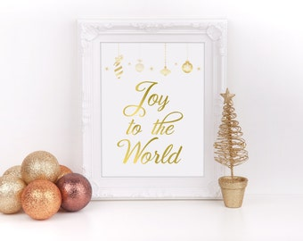 """Christmas Joy to the World Art Real Gold Foil Print, 8""""x10"""", Christmas Decor Sign, Holiday Decorations, Party, Real Foil Print to Ship"""