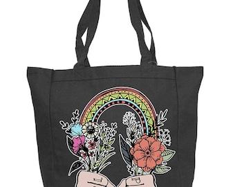 GIRL POWER Shopping Canvas Tote, rainbow girl power grocery canvas bag / girl power Shopping Grocery Tote / girl power Canvas Tote