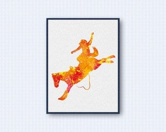 Rodeo Watercolor Poster, Horse Watercolor Poster