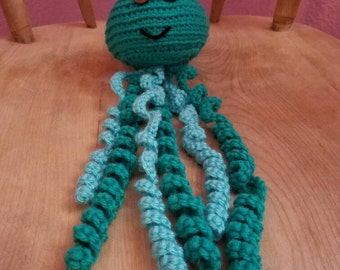 Handmade stuffed crocheted jellyfish (teal)