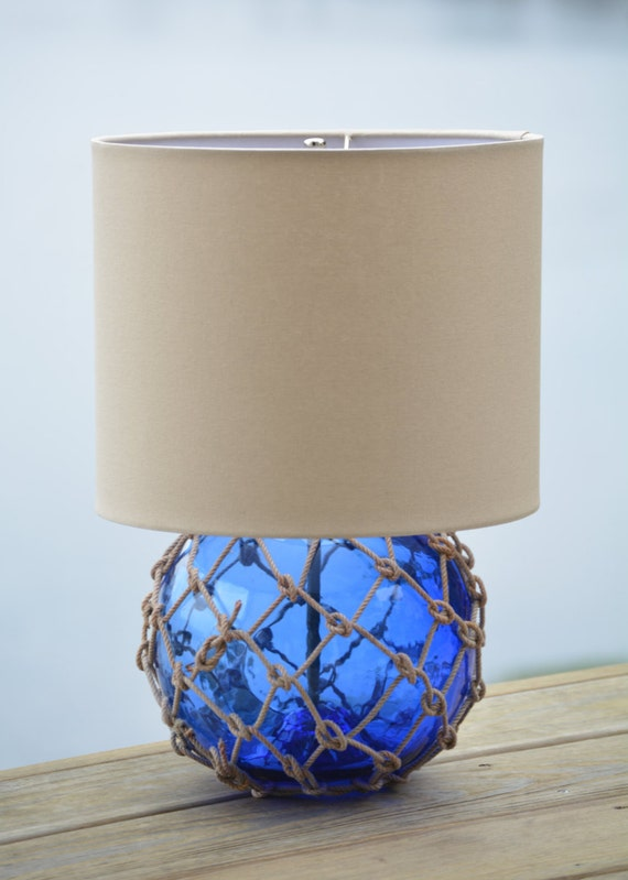 Cobalt Blue Glass Fishing Float Lamp With Tan Lamp Shade