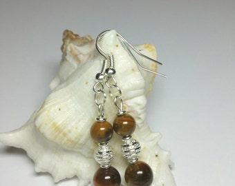 Tiger Eye Earrings, Gemstone Beaded Earrings, Silver Handmade Costume Jewellery, Under 20 Gift, Gift for Her, Christmas Gift