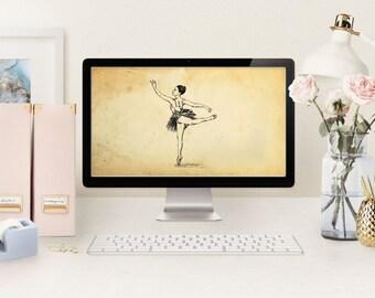Desktop wallpaper, Ballet art, Printable Art, Instant Download, Ballerina , Digital Wallpaper, Smartphone Wallpaper, Ballet lover gift