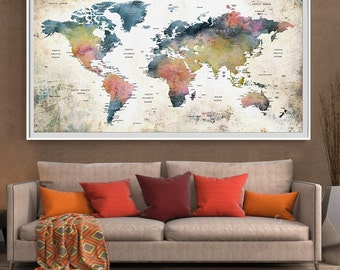 Huge classic black world map vintage elegant home decor push pin travel watercolor world map print home decor wall art for gift large sciox Images